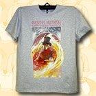 Меланжевая футболка с печатью